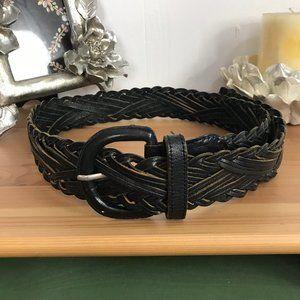 "Omega Braided Genuine Leather Belt Black 40"""
